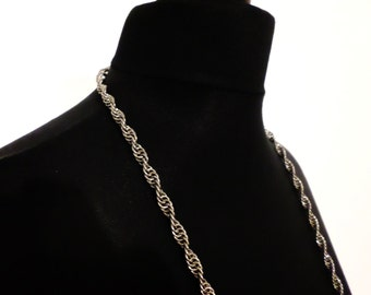 Stainless Steel Spiral Weave Chainmail Necklace - Extra Long Chainmaille Swirl Necklace - No Clasp