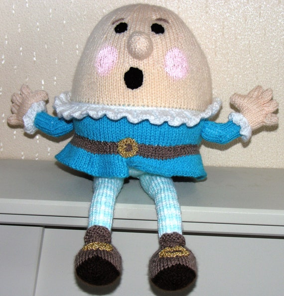 Hand Knitted Humpty Dumpty Plush Toy Nursery Rhyme Childrens