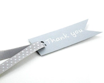 Grey Thank You Gift Tag With Dotted Ribbon Cute Gift Tag Available In Other Colors For Original Gift Packaging