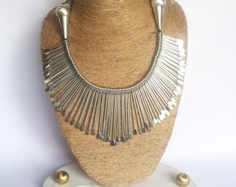 Silver Necklace/Spikes Necklace/ Chunky Necklace/ Unique Necklace/ Statement Necklace/ Bib Necklace/Tribal Necklace/Bohemian Necklace