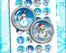 Snowman Printable circle Images for Scrapbooking, Bottle caps, Pendants Digital Collage Sheet Instant Download