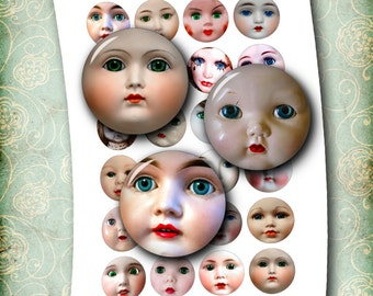 "Vintage Doll Faces 1"", 30mm, 25mm, 1.5"" 2"" for Bottle Caps Pendants Printable Images Digital Collage Sheet- Instant Download"