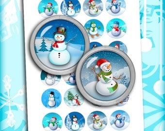 """Snowman 1.837 inch for 1.5"""" buttons 1.5 inch 1 inch Printable circle Images for Bottle caps Pendants Digital Collage Sheet Instant Download"""