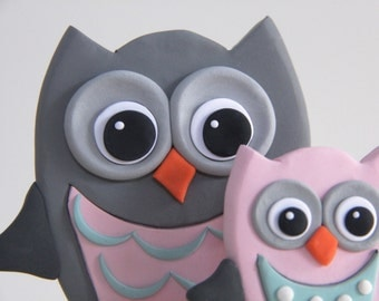 Mommy and Baby Owls Keepsake Cake Topper - Nursery Decor - Look Whooo's Having a Baby - Baby Shower