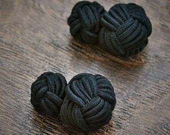 Silk Knot Cufflinks - Black