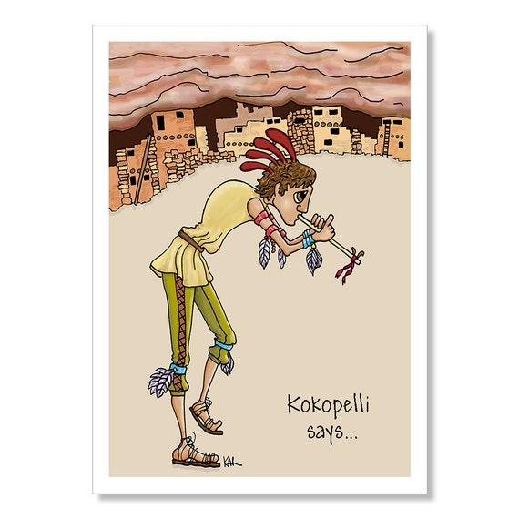 Kokopelli birthday card funny birthday card native american like this item bookmarktalkfo Choice Image