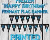 "SALE! Frozen ""Happy Birthday"" Banner w/ Chalkboard Background - Made To Order"