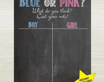 INSTAND DOWNLOAD- Chalkboard Style Gender Reveal Poster; Cast your vote