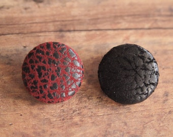Faux leather red or black fabric covered buttons (size 60, 40, 32, 20, or 18)