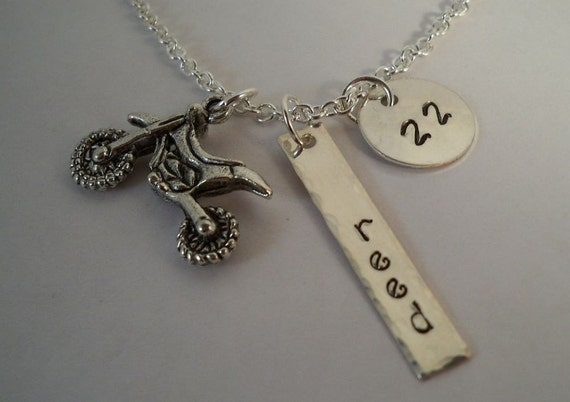 ... Motocross, Dirt Bike Racing, Motorcycle, Hand Stamped Charm Necklace