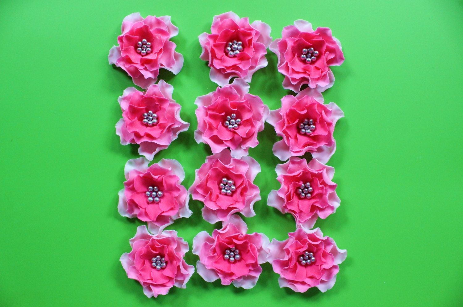 Fondant Flowers 12pcs Hot Pink Silver Ombre Edible Cake Cupcake