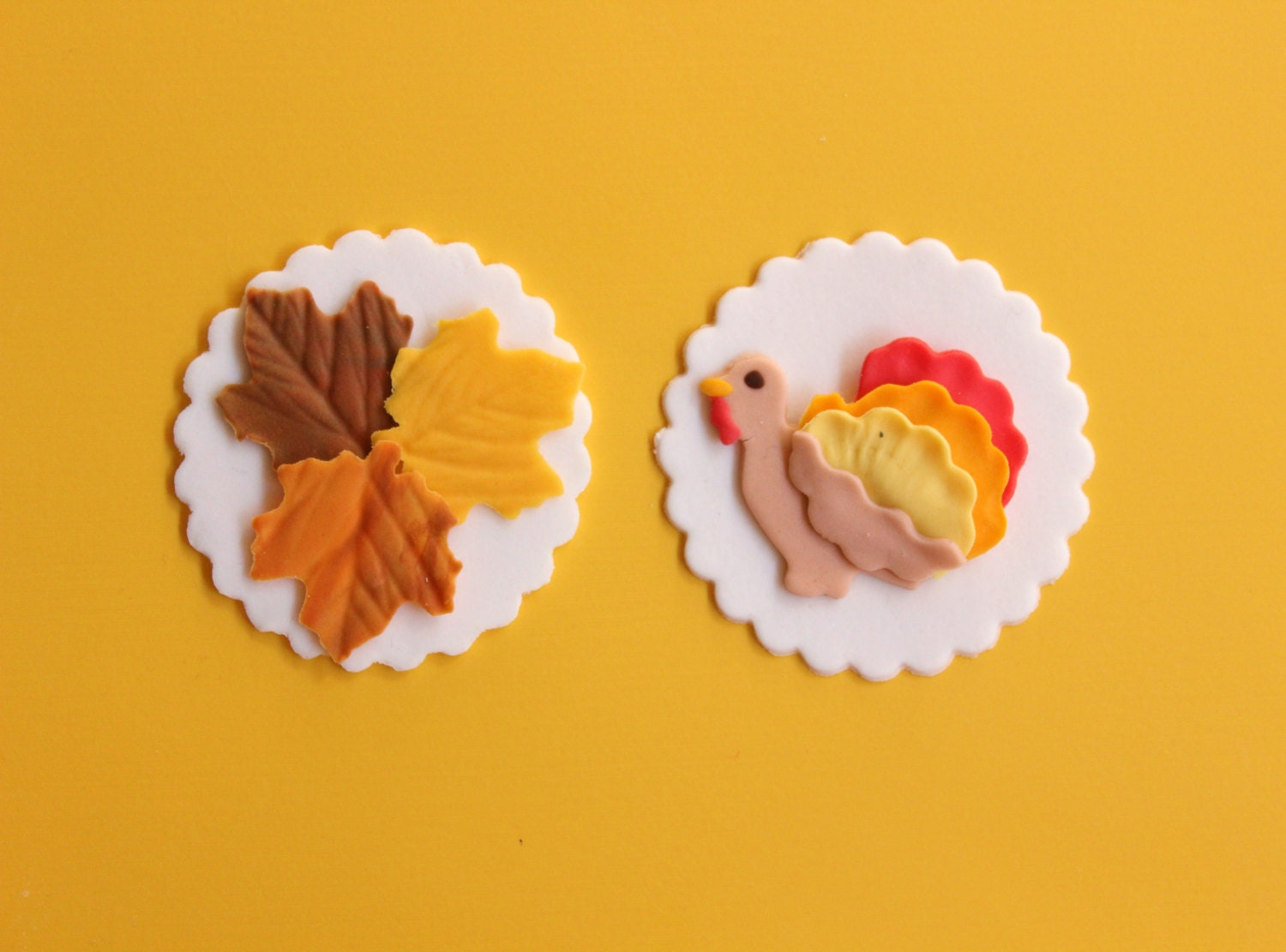 Edible Cake Images Thanksgiving : 12 fall cupcake toppers turkey leaves Thanksgiving edible