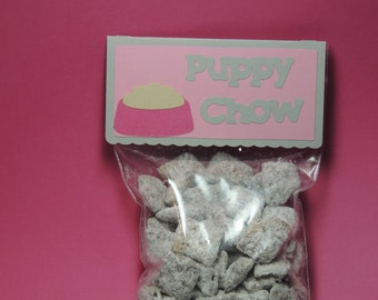 Girly dog party treat bag toppers. Puppy chow treat bags toppers. Puppy chow favor bags/favor tags.
