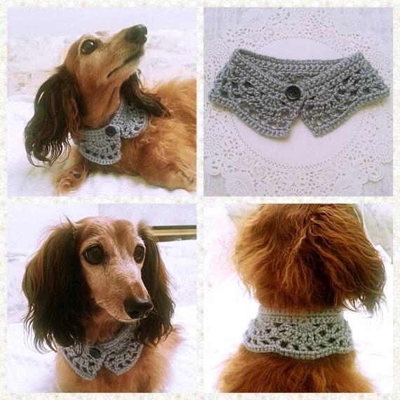 Knitting Pattern For A Dog Scarf : Crochet Dog Scarf Dog Collar Dog Bandana Dog Cowl Cat