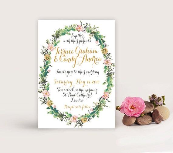 Succulent wedding invitation printable diy wedding succulent