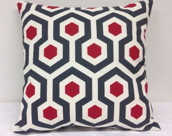 Red and Gray Hex 18 inch Decorative Pillow Cover