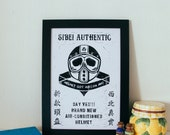 "Vintage Inspired Linocut Poster ""Helmet Got Aircon Ah"" Singapore Handmade Linocut Print"