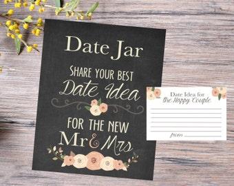 Date Jar Sign / Wedding Date Jar Sign / Wedding Date Jar Print / Wedding Printable / Shower Date Jar Sign / Wedding Sign INSTANT DOWNLOAD
