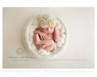 Crochet Basket- Newborn Photography Prop- Made To Order- Cream