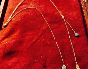 Gold 16K plated brass necklace with turquoise stone charms, with gorgeous back line detail, BAYSIDE by KREATURE bijoux