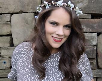 Babys breath Crown, Gypsohila Crown, Flower Girl Crown, Babys Breath Flower Crown, Wedding Flower Crown, Bridesmaid Hair Accessories, Boho