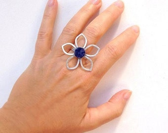 Flower ring , Big ring , Sodalite stone , Statement ring , Handmade , Sterling silver , Blue ring