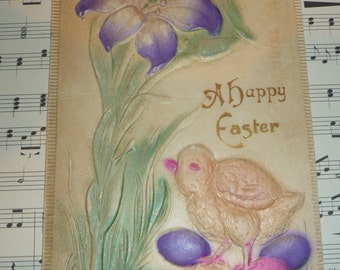 Heavily Embossed Easter Postcard With Purple Lily, Eggs and Chick