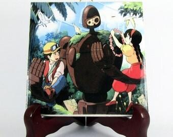 Studio Ghibli print on tile - Pazu Sheeta and the Guardian from Laputa - Castle in the Sky Ceramic inspired by Miyazaki gift idea M2