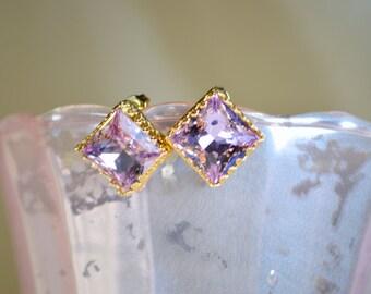 Lavender Princess Swarovski Crystal Post Earrings - 14k Gold Plated