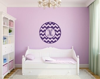 Chevron Wall Decal Monogram Wall Decal Chevron Vinyl Decal Initial Wall Decal Girl Bedroom Decal Girl Room Decal Chevron Monogram
