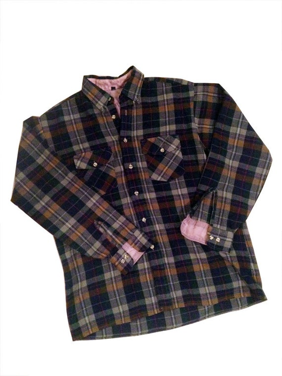 Vintage 1990s Navy Green Brown Pink Gray Plaid Flannel Shirt