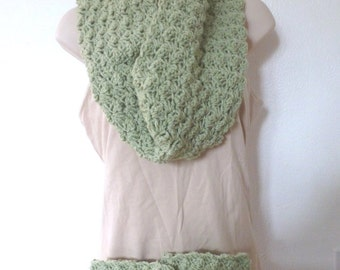 Women's Handmade Infinity Scarf and Boot Cuffs Set - Sage Green - Christmas Gift