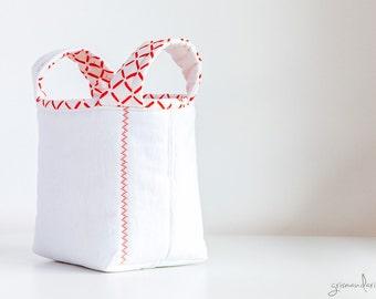 Vintage Fabric Storage Basket Bucket - Orange and White Lattice