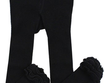 Black Ruffle Leggings/ footless tights