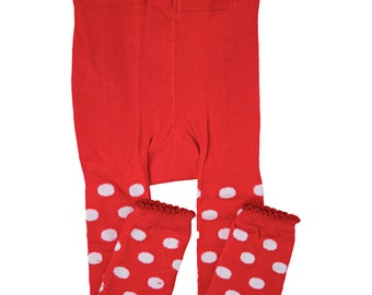 Red and White Polkadot Leggings/ Footless Tights