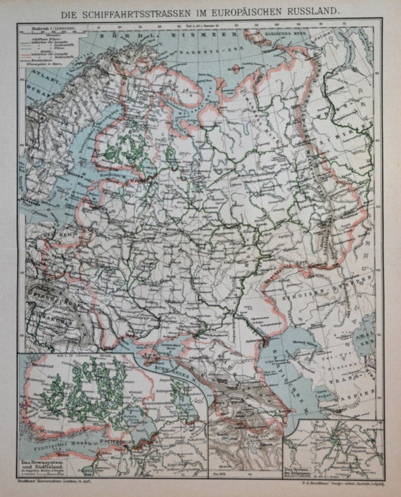 European Russia hydrographic map. History engraving. 1901 print. Old book plate. 113 years lithograph.12'1 x 9'6 inches.