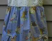 Size 4 Girls Cotton Tunic style dress with nursery rhyme design fabric
