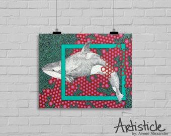 Orca Art Print - Killer Whale Print - Under The Sea Art - Nursery Decor - Modern Home Decor - Red Teal Print - Ocean Art - Beach House Art