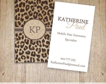 Leopard Animal Print Business Card / Instant Download / Stationary / Printables /