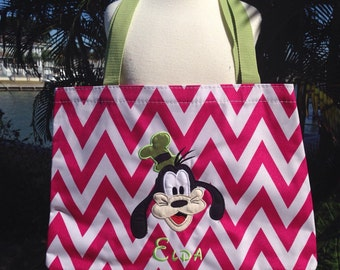Chevron Tote/Beach Bag - Goofy inspired Disney - Free Name or monogram