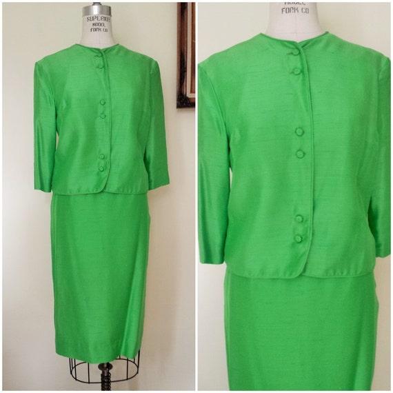 vintage 1960s apple green silk suit 60s 2 suit 1960s