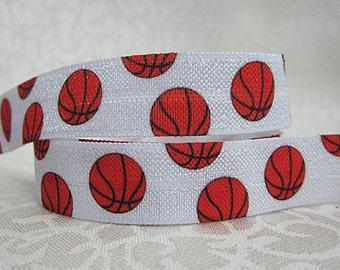 Basketball FOE -Fold Over Elastic 5/8 inch by the yard...Football Print FOE, Headbands, Hair Ties and More!