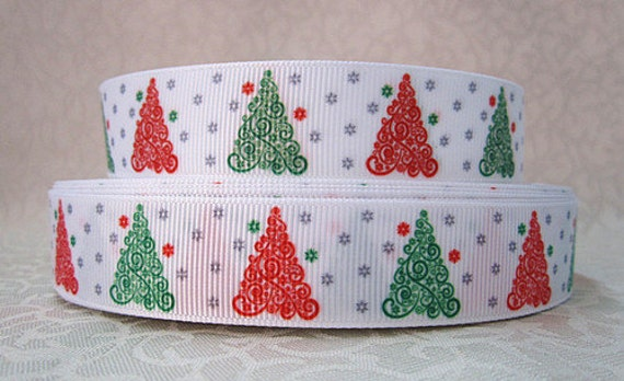 Christmas Tree 7/8 Inch Grosgrain Ribbon By The Yard For