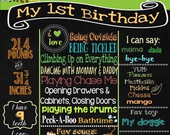 Jungle theme  Birthday Chalkboard- Baby's First Birthday chalkboard- 16x20 printable / wild animals party