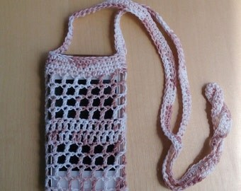 Fawn and white string bag for mobile phone - crochet phone bag