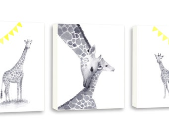 Baby Nursery Wall Art - Giraffe Nursery Decor - Yellow and Gray - Watercolor Nursery Art - Kids Wall Art - Neutral Color - Giraffe Family