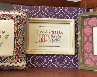 3 small religious hand embroidery patterns with stitching instructions.