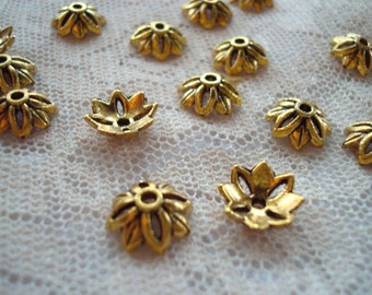 32 Antique Gold Pewter Flower Caps. 12x4mm Well Domed Cap With 8 Distinct Petals/4 Open. Lovely Stacked Too! ~USPS Ship Rates from Oregon