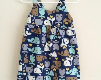 Blue Whale Dress , Whale Summer Dress , Whale Dress , Whale Baby Dress , Whale Toddler Dress , Baby Dress