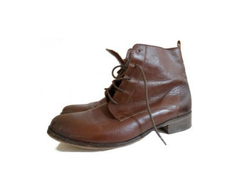90s french laced up ankle boots // natural tan leather shoes // size : eu 39 -us 7.5 - uk 5.5